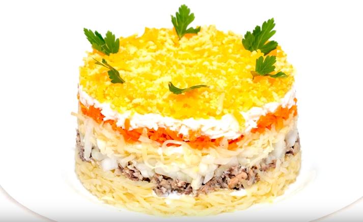 Мимоза салат с консервой и сливочным маслом